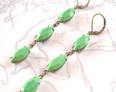Mint Green Earrings Retro Summer Milk Glass Mod Bridesmaid Bridal Jewelry