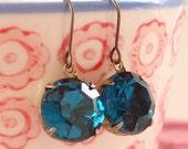 Vintage Swarovski Blue Zircon Earrings Teal Blue Retro Bridal Bridesmaid