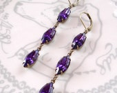 Swarovski Violet Purple Earrings Retro Rhinestone Vintage Navette Crystals