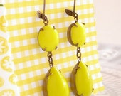 Lemon Drop Earrings Vintage Sunshine Yellow Milk Glass Retro Mod