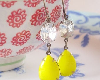 Lemonade Stand Earrings Retro Yellow and Crystal Rhinestone Mod Summer Citrus Colors Bright Lemon Yellow Fifties 50s Sixties 60s Earrings