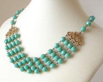 Turqoise Four Strand Necklace Bridal Bridesmaid Wedding Prom Spring Summer Color Faceted Czech Glass Beads