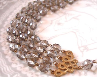 Black Diamond Four Strand Necklace Bridal Bridesmaid Vintage Glam Art Deco 4 Strand Faceted Beads