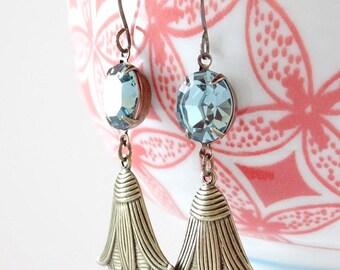 Indian Sapphire Blue Swarovski Earrings Art Deco Egyptian Lotus Tulip