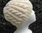 Creamy Off White Cable Hat - Hand Knit Beanie Cap- Adult Women or Teen Unisex - Very soft Acrlic Wool Blend