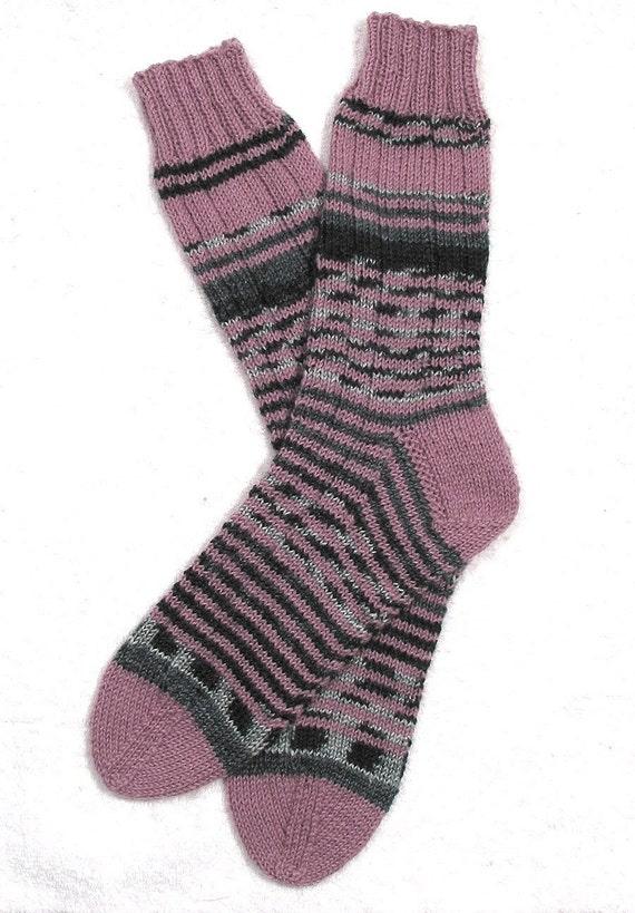Ladies Womens Socks - Superwash Wool - Hand Knit - Pink Rose Spiral Stripes