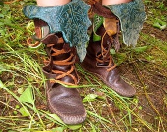 Mid-Calf Forest Boot / Tall Moccasin Hand Stitched Bullhide Leather Upper With A Soft Bullhide Sole / Hobbit Renaissance Fairy Faerie LARP