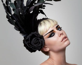 Couture Black headband Fascinator