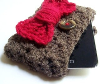 Iphone 5 Case Ipod Touch Case Cozy pouch brown red bow tie eleventh doctor who crochet cover