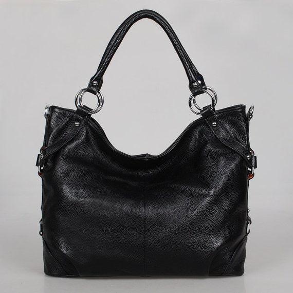 Black leather bag, hobo---Adeleshop handmade Leather bag Messenger Diaper bag Shoulder bag Tote LAST ONE