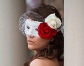 Scarlett - Phantom of the Opera style inspired birdcage veil mask with Real Touch Roses