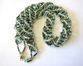 Beaded Spiral bugle beads necklace, Green and silver necklace, Spiral necklace, Russian Spiral Necklace