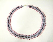 Beaded St Petersburg Lavender and red necklace, Beaded Necklace, Beaded Jewelry
