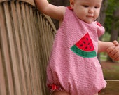 Red gingham seersucker Girl's bubble with Watermelon Applique, sizes 3mos, 6mos, and 9mos