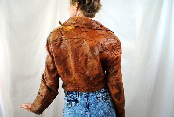 Vintage 80s Patchwork Leather Cropped Jacket