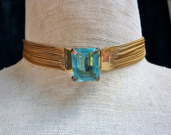Vintage 1940s Chunky Aqua Emerald Cut  Choker Necklace