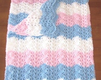 Handmade Blue, White, and Pink Crocheted Baby Blanket Afghan