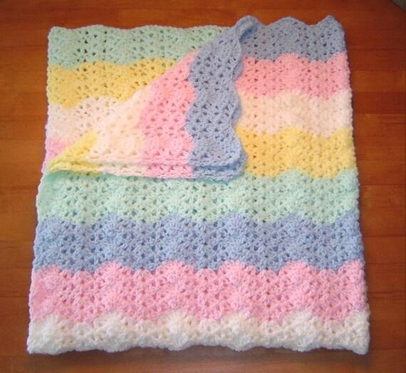 Handmade Blue White Green Pink Yellow Crochet Baby Blanket