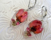 Pink Boronia and Pink Heather Pressed Flower Glass Teardrop Leverback Earrings-Gift Under 30-Spring Tulips-Symbolizes Admiration, Solitude