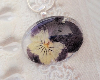 Purple and Yellow Pansy Oval Glass Pressed Flower Pendant-Nature's Wearable Art-Symbolizes Loyalty-Gifts Under 25 Dollars