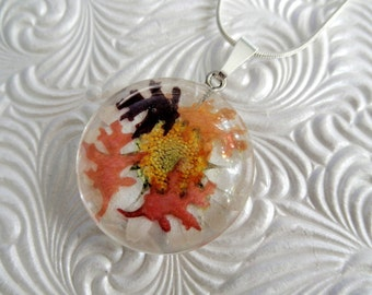 Summer & Autumn-We Meet Again-Miniature Oak Leaves,Daisy Real Pressed Flower Round Glass Pendant-Gifts Under 30-Nature's Art-Symbol Courage