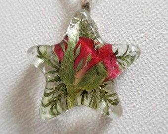 Red Rosebud, Ferns Pressed Flower Small Star Shaped Resin Pendant-Nature's Wearable Art-Symbolizes True Love-Gifts Under 30