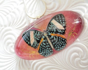 Vintage Butterfly Pressed Flower Domed Resin Pendant-Pressed Ombre Fire & Ice Rose Petal-Symbol Of Unity,Transformation-Gifts Under 35