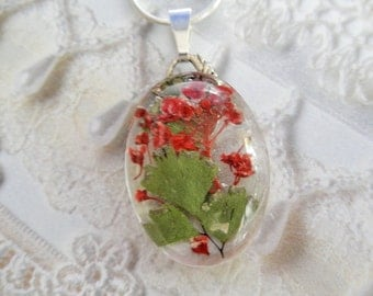 Red Alyssum,Maidenhair Ferns Victorian Pressed Flower Oval Glass Pendant-Gifts For 25-Symbolize Worth Beyond Beauty-Nature's Wearable Art