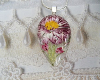 Ombre Dark Pink,White English Daisy,Pink Heather Glass Teardrop Pressed Flower-Gifts Under 30-Nature's Art-Symbolizes Loyal Love, Admiration