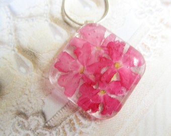 Pink Verbena Domed Square Glass Pressed Flower Pendant-Symbolizes Enchantment-Nature's Wearable Art-Gifts Under 25
