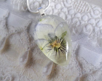 Pastel Pansy-Ombre Coconut Swirl Lavender,Yellow Pansy Pressed Flower Glass Teardrop Pendant-Nature's Art-Symbolizes Loyalty-Gifts 25 &Under