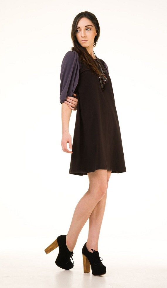 Dress Black Cotton Jersey with Blue/Gray Soy Jersey, aline, modern bohemian style- made to order