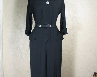 Rsvd Fabulous 40s black dress with large rhinestone accent buttons and pleats amazing pristine vintage