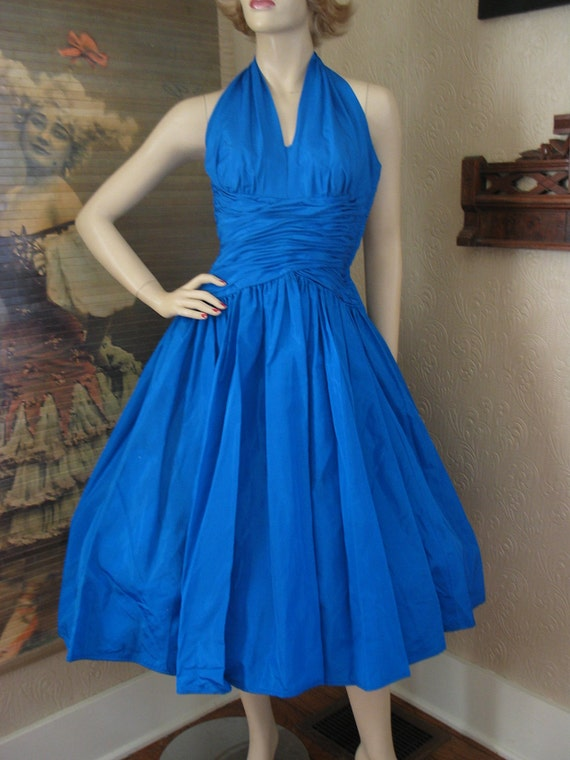 SALE was 150 50's Kay Selig blue tafetta shelf bust halter top gathered waist full skirt cupcake party prom dress XXS
