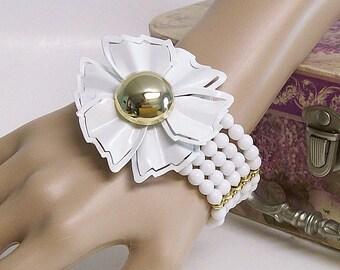 Bracelet White Quartz and Vintage Brooch Stretch Cuff