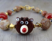 Rudolph Artisan Lampwork Bracelet Cranberry Gold - CLEARANCE PRICING!