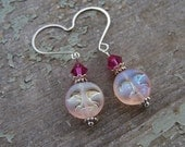 Etched Glass Earrings Pink Man in the Moon