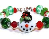 Frosty Mistletoe Artisan Lampwork Bracelet - SALE!! CLOSEOUT!