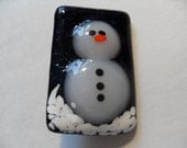 Blue Sparkly Fused glass snowman pin, brooch