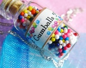 Gumballs Rainbow Candy Jar Necklace - Glass Bottle Jewelry