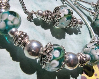 Turquoise Floral Lampwork and Silver Set - Necklace, Bracelet, and Earrings - Water Lily