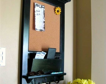 Wall Mail Organizer Furniture Wood Framed Cork Bulletin