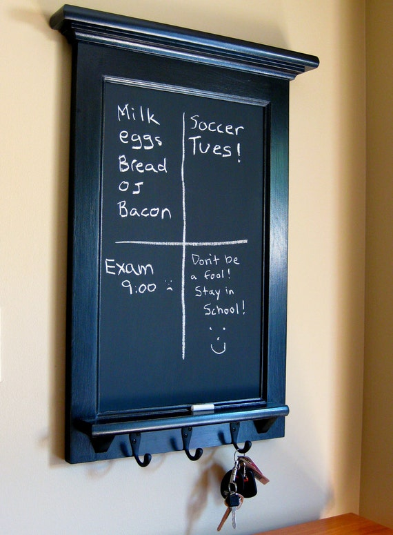 Chalkboard Organizer with Shelf - Wood  Framed Furniture Key Hook Organizer Hat rack for your Kitchen, Office, or Entryway Chalk Board