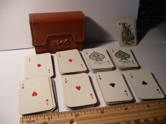 REDUCED Vintage Dunhill Travel Card Game with Italian Leather Case. Eight Tiny Decks of Cards. Upcycle.
