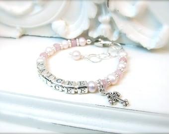 Baby Name Bracelet // Little Girl Name Bracelet // Baby Girl Bracelet // Baby Bracelet // Pink Baby Bracelet // Baptism Bracelet // Cats Eye