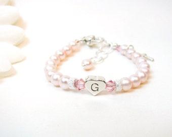 Pink Baptism Bracelet // Christening Bracelet // Baby Girl Bracelet // Baby Bracelet // Baby Cross Bracelet // Little Girl Bracelet