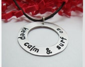 Keep Calm and Surf On Washer Necklace - Hand Stamped Sterling Silver