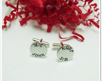 Personalized Cuff Links - Sterling Silver Hand Stamped Cuff Links - Gifts for Dad - Groom Gift - Wedding