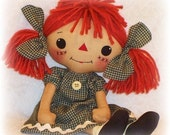 Cloth Doll PATTERN, PDF pattern, Rag Doll Sewing Pattern, primitive raggedy ann annie, digital download, instant download