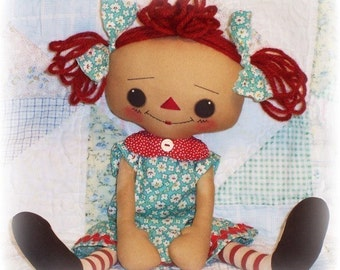 Rag Doll Pattern, Cloth Doll pattern, PDF sewing pattern, Raggedy Ann, Annie, Primitive Doll, Toy Pattern, instant download